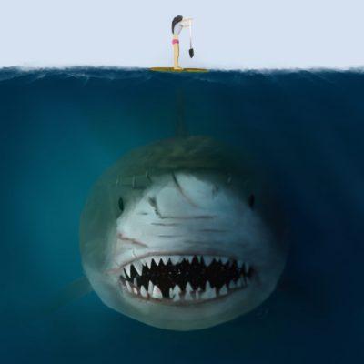 Paddleboarding White Shark — KarlBoghossian